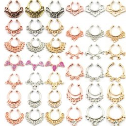 rose gold nose piercing NZ - 100pcs Mixed fake septum Body Hoop jewelry alloy silver and rose gold fake septum piercing nose ring women N0068