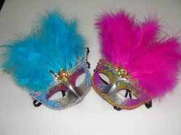 Mask Feathers Canada - 10pcs lot Half Faces Venetian Mask with 11 beautiful feather Mardi Gras Masquerade Halloween Costume Party MASKS