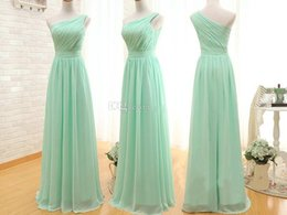 Robe De Bal À La Menthe Pas Cher-2015 Real Photos Mint Green Long Robes de soirée Une épaule Ruffles Backless Chiffon Prom Robes Longueur de plancher Cheap Party Dress A Line