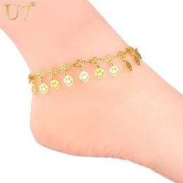 $enCountryForm.capitalKeyWord UK - U7 Unisex Anklet Lovely Smile For Women Men Free Shipping 18K Real Gold Platinum Plated Characterist Foot Bracelet Fashion Jewelry 7-A932