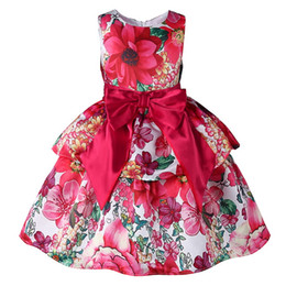 Chinese  Pettigirl Retail Latest Girls Dresses Printed With Flowers Big Bow Sash Back With Zipper Toddler Girl Designer Clothes GD81007-78Z manufacturers