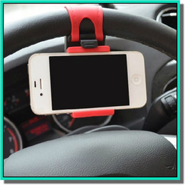Wholesale Universal Car Streeling Steering Wheel Cradle Holder SMART Clip Car Bike Mount for smart mobile samsung Cell Phone GPS holder with retail