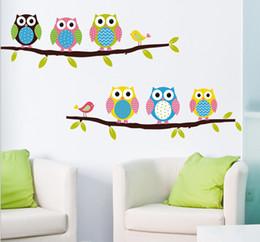 Wallpaper kids tree oWl online shopping - 2015 Cartoon Cute Animal Deer Owl Tree Mushroom DIY Wall Sticke Wallpaper Stickers Art Decor Mural Kid s Child Room Decal Sticker