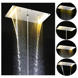 Curtains Walls Canada - Multi Function Bathroom Rain Shower Head Rainfall Waterfall Spray Mist Curtain LED Wall Mounted Luxury Shower Head Sets HM-EBDP020-1