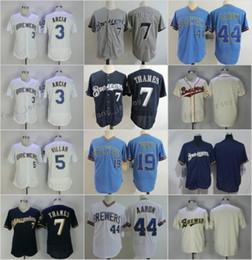 01e4de914 ... Milwaukee Brewers 3 Orlando Arcia 5 Jonathan Villar 7 Eric Thames 19  Robin Yount 44 Hank Twins 33 Justin Morneau Stitched Navy Blue ...