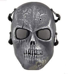 Skeleton Tactical Mask Canada - M01 Tactical masks ghost personality Movie props field Skull Full Face Mask Silverish Skeleton for riding Airsoft Paintball CS cycling