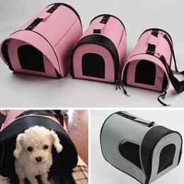 Cat Baskets Beds Canada - Super New Pet Dog Cat Bed House Dog cat carrier pets outdoor cage travel tote bag foldable Doggy Warm Cushion Basket Color DR007