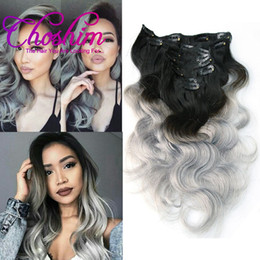 Choshim Hair 1B Silver Grey Color Body Wave Human Clip In Brazilian Ombre Remy Extensions 8 Pcs Set 120g Clips Discount