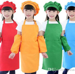 plain cooking aprons NZ - 10 Colors Kids Aprons Pocket scarft Cooking Baking Art Painting Kids Kitchen Dining Bib Kitchen Supplies free shipping