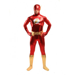 Barato Fantasia De Super-heróis Pvc-O Flash Superhero Costume Festa de Halloween Cosplay Zentai Suit