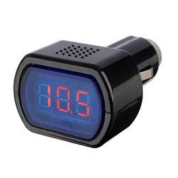 Venta al por mayor Digital LCD Encendedor de cigarrillos Voltage Panel Meter Monitor Voltímetro voltímetro del coche 12V 24V Probador del metro de la batería WI56