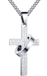 $enCountryForm.capitalKeyWord Canada - Stainless Steel Men's Cross W Lord's Prayer in English and Halo Pendant Crucifix Cross Mens Pendant with 24