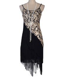 Wholesale flapper dresses 1920s resale online - Women s S Paisley Art Deco Sequin Tassel Double Side Glam Party Gatsby Flapper Dress Six Color Three Size