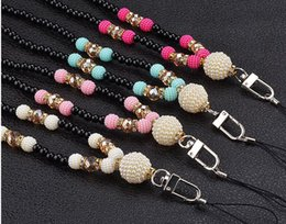 Discount cell mobile phone strap key chain - Pearl necklace Lanyard for cell phone key Mobile Phone Straps Keychain mobile chain straps Charm Cords Hang Rope Lanyard
