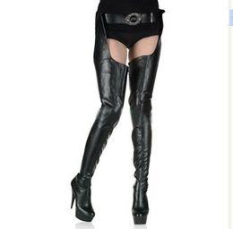 "Chinese  HOT Crotch boots wtih belt 15cm heel thigh high sexy 6"" heels matte platform boots zipper over the knee SEXY FETISH BDSM boots manufacturers"