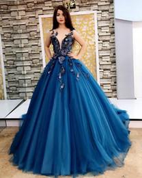 $enCountryForm.capitalKeyWord NZ - Evening Dresses 2017 Arabic Navy Blue Deep V Neck 3D Flowers Ruffy Sleeveless Sweep Train Tulle Formal Party Dress Plus Size Prom Gowns