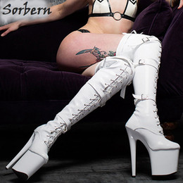Over Knee Platform High Boots Canada - Sorbern Women Boots Customized Fashion 20CM Thin High Heels 9CM platform Sexy Fetish Pointed Toe Buckle Over-the-Knee Thigh high Dance Boots