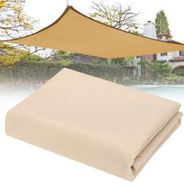 Vente en gros- Hotsale 2X1.8m Sun Shade Sail Mesh Net Couverture de plantes de jardin en plein air Verrière Étanche Auvent Taille Beige bord Anti-UV soleil abri en Solde