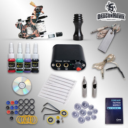 power grips pedals UK - Beginner kit of tattoo complete machine guns 4 inks sets power supply disposable needles pedal grips tips free shipping D1025GD