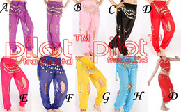 Red Indian Costumes Canada - Chiffon Fabric Bloomers Trousers Bollywood Indian Dresses Belly Dance Costume Metal Coins Trousers 8 Colors