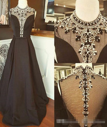 Bling Vintage Straps NZ - Vintage A line Black Cheap Pageant Prom Dresses 2018 With Sheer High Neck Short Sleeves A line Satin Ruched Crystal Bling Rhinestones Gowns