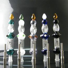 Vente en gros Collecteur de Nectar Vert / Blanc / Violet / Bleu / Noir avec Pointe en Titane Clou de Titane 14mm Nail Inversé Miel Concentré de Paille Miel Dab Paille