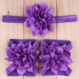 $enCountryForm.capitalKeyWord NZ - 5set Lovely Baby Hair Accessories Girl Chiffon Lotus Flower Headbands Children Barefoot Foot Flowers Hairbands Set Infant First Walker Shoes