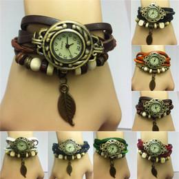 Orange Quartz Pendant NZ - Drop Price luxury Pastoral Vintage Watch Leaf Pendant Leather Strap Casual Watches Analog Bronze Leaves women Ladies Quartz watch New 2015