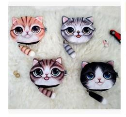 Женщины Cat мешок портмоне бумажник девочки 4 клатч кошельки дизайн принтера 3D кот лицо мультфильм сумка изменить портмоне чехол бесплатная ShippingR1569