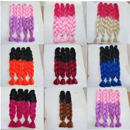 TwisTing black hair online shopping - Kanekalon Jumbo Braid Hair Senegalese Twist inch grams Black Dark Blue Ombre two tone color xpression synthetic Braiding hair extension