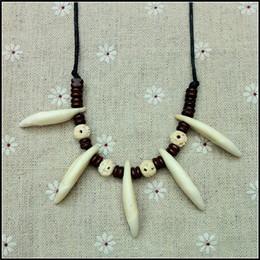 $enCountryForm.capitalKeyWord Canada - 2016 new teeth bone beads Chief Charm Pendant vintage adjustablt ox bone wolf teeth Tribal chief choker necklace Aboriginal Jewelry 48pcs