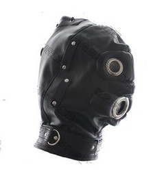 DilDo masks online shopping - 2016 Newest Soft leather bondage Hood Mask eyepatch SILICONE dildo Mouth Plug Headgear Sex product toys