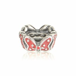 $enCountryForm.capitalKeyWord Australia - 2018 New Bow Spacer Charms Beads Original 925 Sterling-Silver-Jewelry Red Enamel Stopper Bead DIY Brand Bracelet Making Accessories