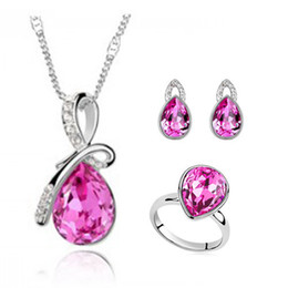 Discount bridal jewelry drop necklace - Wholesale-2015 new fashion silver plated crystal jewellery set water drop wedding rings earring Pendants Necklaces Brida