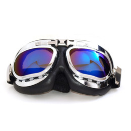$enCountryForm.capitalKeyWord Canada - NEW Arrival Silvery Frame UV Protection Motorcycle Goggles WWII Vintage Scooter Motorbike Jet Helmet Goggles Glasses