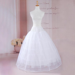 ball gown hoop skirts for 2019 - High Quality Hot A Line Plus Size Crinoline Bridal 3 Hoop Two Layer Petticoats For Wedding Dress Wedding Skirt Accessori