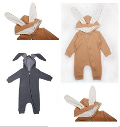 Jumpsuits Rabbit Girl NZ - Baby Rompers Warm Bunny Ear Autumn Winter Infant Rabbit Style Jumpsuit Cotton Boys Girls Clothing Hooded Clothes Free Shipping