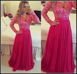 Barato Vestido Da Curva Da Parte Traseira Do Chiffon-Long Sleeve HotPink Prom Dresses V-Neck Bow Pearls Lace Chiffon Andar Comprimento A-Line Party Vestidos Zipper Back Custom Made P167