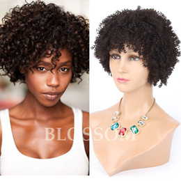 natural hair curls 2019 - Celebrity Afro kinky curl Glueless Cap 8 inch #1b natural Indian Remy human hair regular affordable machine made Short w