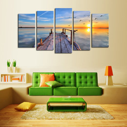 $enCountryForm.capitalKeyWord NZ - Home Decor 5 Panel Sunrise Seascape Painting Modern Art Picture print on Canvas Unframed Painting Free Shipping