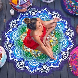 Barato Verão Indiano-Atacado-2016 Yoga Woman Lady Bohemia Round Indian Beach Picnic Summer Towel Blanket Mat Beachwear Beach Cover Up