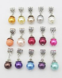 Pendant Pearl Pandora Canada - 15 colors Mix Style Big Hole Loose space Beads pearl charms pendants For Pandora DIY Jewelry Bracelet women jewelry wholesales freeshipping
