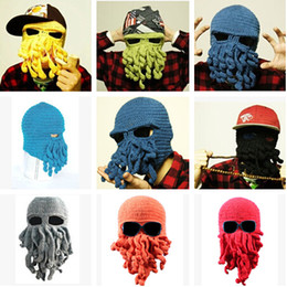 9821b7e4b6e03 Winter Beanie Caps Wool Knitting Cthulhu Ski Mask Octopus Hat Octopus Cap  Funny Hat for Christmas Fashion Novelty Adult Hat Tentacles H2