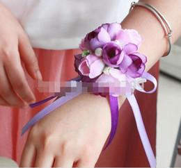 10pcs Elegant Bridesmaid Wrist Corsages Decorative Pearl Rose Bride Hand Flower Elastic Bracelet Wedding Prom Bouquet Party Favor Cheap
