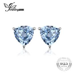 Trillion 1.8ct Natural Sky Blue Topaz Genuino 925 encantos de plata esterlina Stud pendientes para mujeres 2016 nuevos accesorios de moda en venta