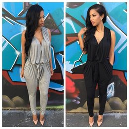 Barato Macacão Preto Cinza-Poliéster Sashes Regular Casual Fashion Deep V-Neck Sexy Summer 2015 Rompers Jumpsuit para Mulheres Black Grey S M L XL