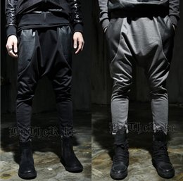Barato Drop Pantalon-Atacado-2015 Moda Harem Pants Faux Leather Men Gota calças Crotch corredores esporte Baggy hip hop pantalon calças sarouel chandal