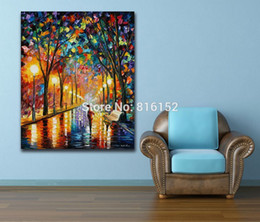 Oil Night Canada - Palette Knife Oil Painting Bright Street Night Walking in The Rain Picture Printed on Canvas Modern Mural Art for Home Wall Decor