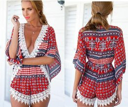 e61ceb57ba3b 2015 summer New Arrival Plus Size S-XL Sexy dresses 9 style V-neck Floral  Print Loose Romper Vintage Short Jumpsuit Women Beachwear B107