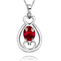 $enCountryForm.capitalKeyWord UK - 925 Silver Necklace Fashion Necklace diamond jewelry heart-shaped jewelryAN1632- AN1633- AN1634- red, bluish black, Navy